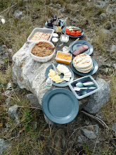 Photo: A typical lunch break on shore.  Fruit, salad, fresh baked squares, and lots of sandwich fixings.  Photo by Ben.
