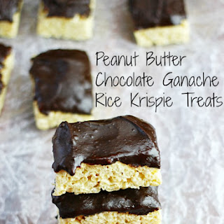 Peanut Butter Chocolate Ganache Rice Krispie Treats.