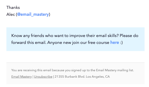 Example of asking subscribers to forward your emails