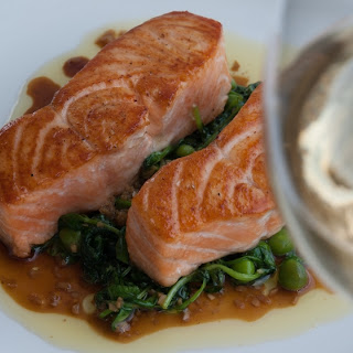 Seared Salmon; Sautéed Pea Shoots and Ginger-Soy Vinaigrette