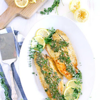 Pan Fried Sea Bass with Lemon Garlic Herb Sauce.