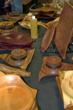 Photo: Mike Sorge brought a wide variety of his geometric turnings, including bowls and boxes in squares, triangles, and diamonds (as well as a couple hearts).