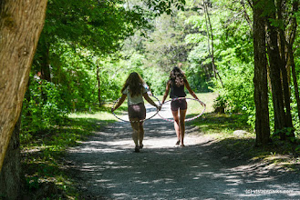 Photo: Two friends walk down the path at Burton Island State Park