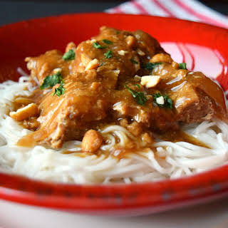 Slow Cooker Pork Satay with Rice Noodles.
