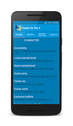 Cheats for Gta 5 1.1 screenshots 5