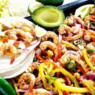 Sheet Pan Low Carb Fajitas with Shrimp.