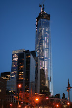 Photo: The new One World Trade Center shortly after sunset.