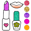 Beauty Drawing Pages Make Up Coloring Book Glitter icon