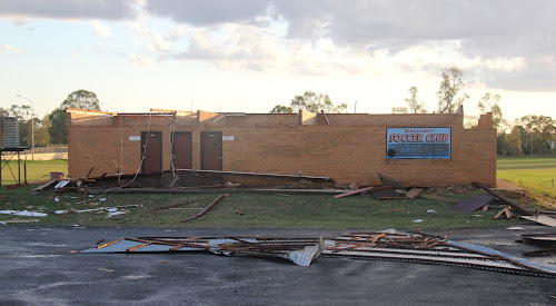 The Gately Field amenities building after the storm that destroyed it in November last year.