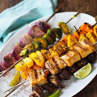 Tropical Tofu Kebabs with Avocado and Mango.