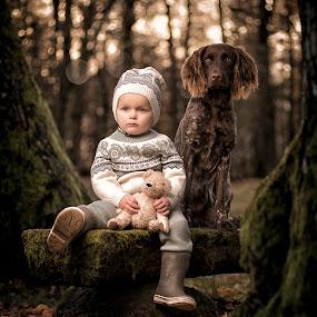 Best friends by Jan Kraft - Babies & Children Child Portraits ( child, autumn leaves, nature, autumn, dog, norway, colours )