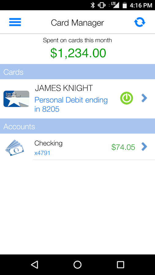 Card Manager - Debit- screenshot
