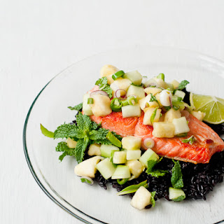 Salmon with Thai Pineapple-Cucumber Salad.