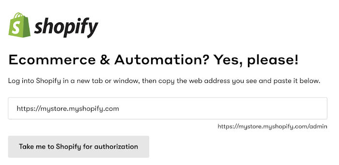 Shopify integration page in Drip