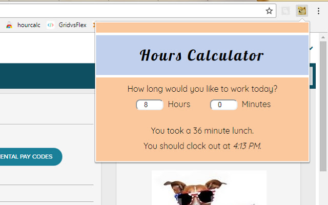 Hours Calculator Extension