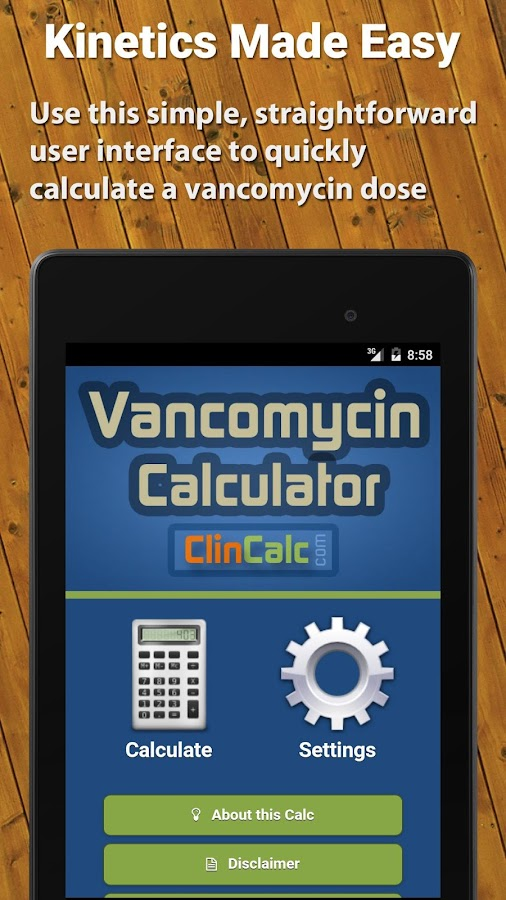Vancomycin Calculator ClinCalc- screenshot