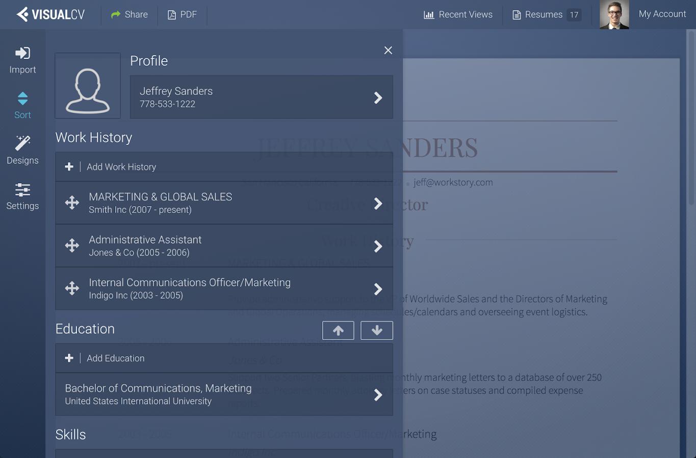 visualcv resume builder android apps on google play visualcv resume builder screenshot