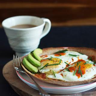 Eggs on a Crispy Tortilla with Homemade Roasted Salsa