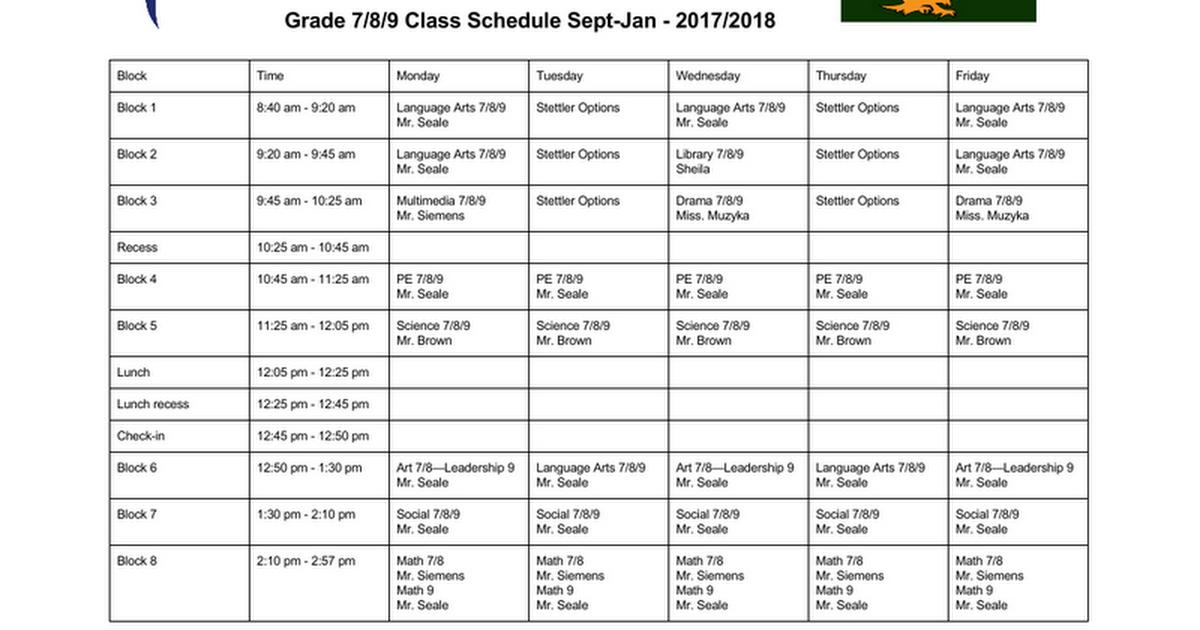 Thumbnail for Grade 7/8/9 Class Schedule 2017 2018
