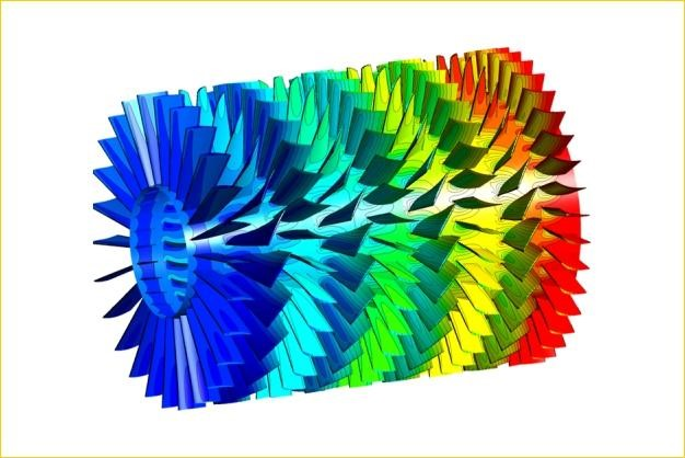 ANSYS - Распределение давления в компрессоре турбины