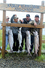 Photo: The results of fishing for Alaskan King salmon on the Kasilof river.