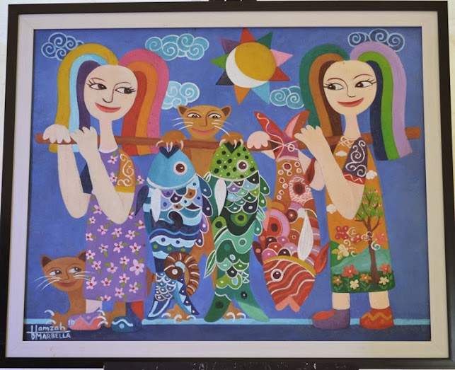 Hamzah painting of womens, cats, and fishes