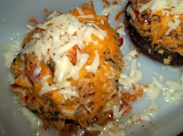 Bake for 30 minutes and then top each mushroom with the shredded Monterey jack...