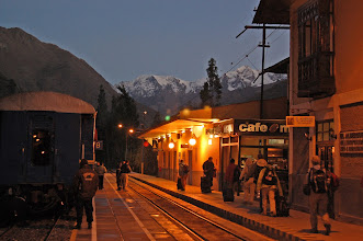 "Photo: The next morning we rise early and take the first train to Aquas Calientes, the ""gateway"" to Machu Picchu."
