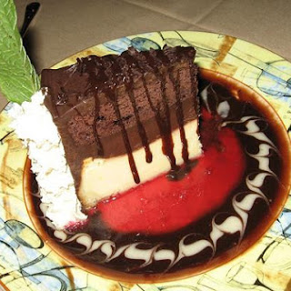 Triple Layer Chocolate Mousse Cake.