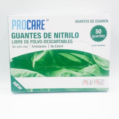 guantes de nitrilo procare m 50 und