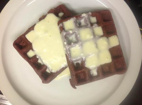 Red Velvet Waffles W/ Cream Cheese Sauce Recipe