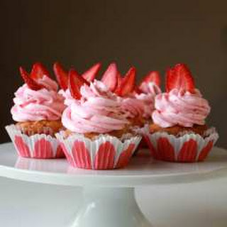 Vanilla Cupcakes with Strawberry Buttercream Frosting Recipe