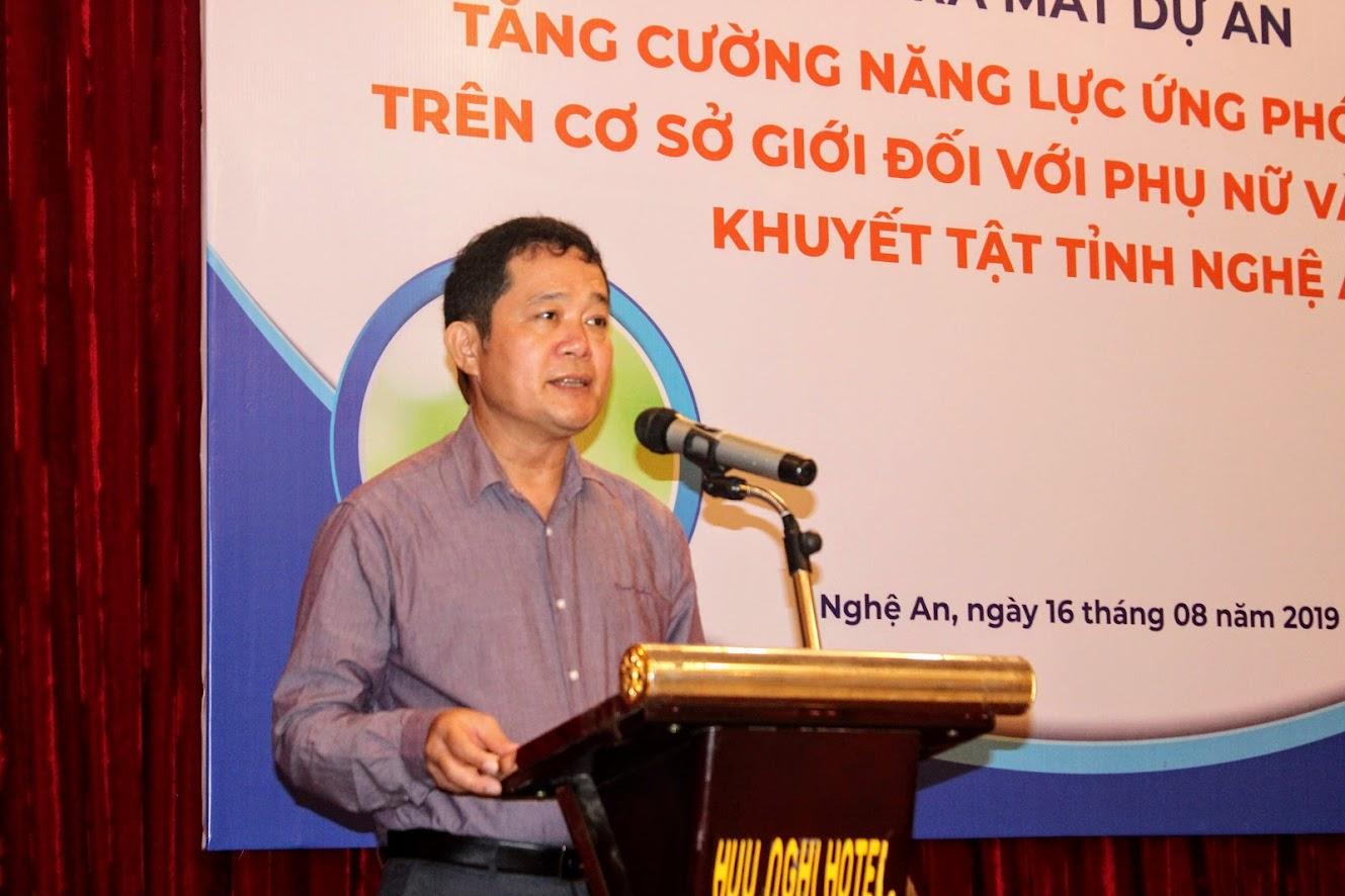 Đại diện Qũy Thúc đẩy sáng kiến Tư pháp, đơn vị tài trợ Dự án phát biểu tại buổi lễ