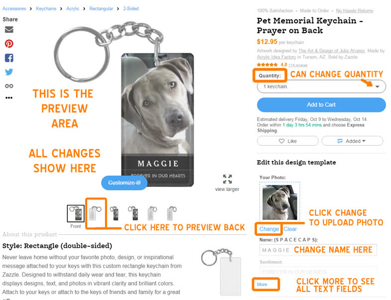 screenshot how to customize dog memorial keychain