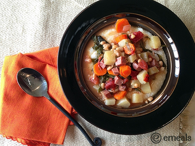Gluten Free CrockPot Ham, Kale and Navy Bean Stew Served Over Homey Cheese Grits Recipe