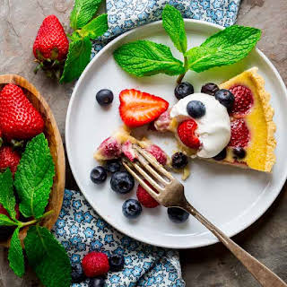 Red White And Blue Buttermilk Berry Tart.