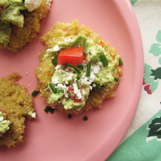 Cheesy Quinoa Cakes + Guacamole + Goat Cheese {makes 9-ish}