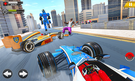 Police Chase Formula Car Transform Cop Robot Games screenshot 2