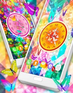 Butterflies Analog Clock Live Wallpaper - náhled