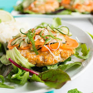 Thai Salmon Burgers with Pickled Cucumber Slaw.