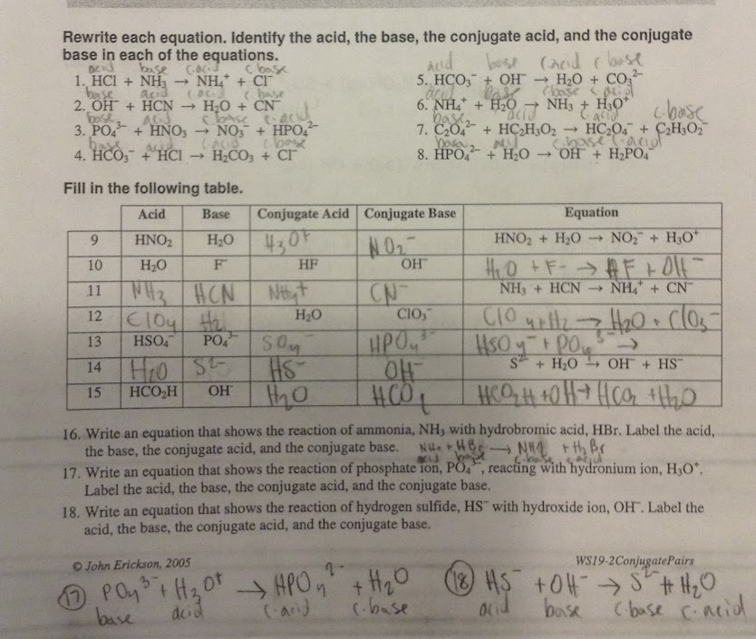 BetterLesson Water Quality What is pH – Conjugate Acid Base Pairs Worksheet
