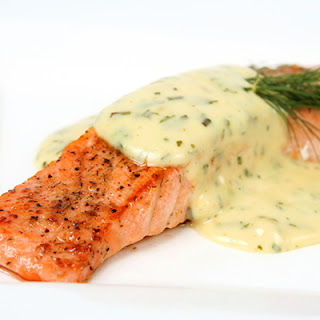 Seared Salmon, Risotto with Herbs and Greek Yogurt.