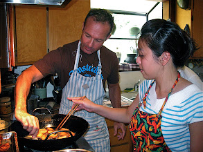 Photo: Jim and Mai frying shrimp toast