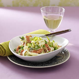 Tagliatelle with Smoked Salmon and Peas.