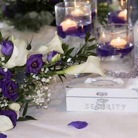 Wedding floral set up by Fiona Etkin - Wedding Details ( purple, elegant, wedding, fine details, romantic, flowers, cream,  )