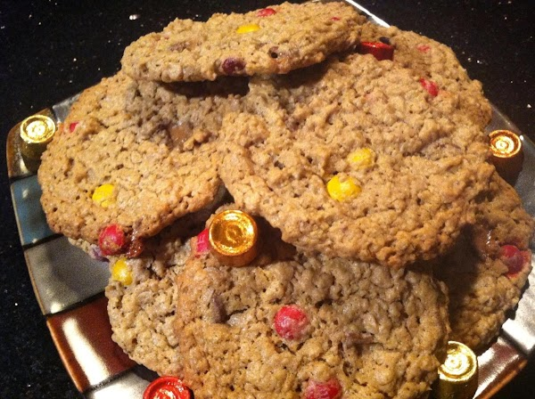 Flourless Chewy Pnt Btr Jumbo Cookies With Mnms N Rolos Recipe