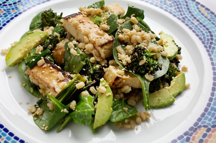 Barley, Tofu and Spinach Salad With Miso Dressing Recipe | Yummly