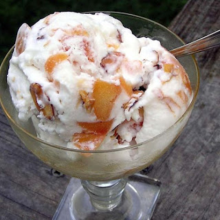 Coconut Peach Ice Cream with Toasted Almonds.