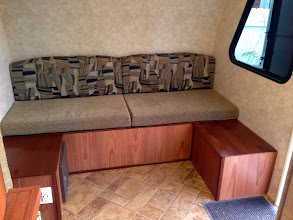 Photo: Dinette Mod:Cushions altered to fit the big bench. Small benches can also be used as end table and foot rests.