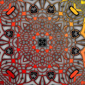 Mosaica by Nancy Bowen - Illustration Abstract & Patterns ( orange, red, digital art, white background, yellow, mosaic )